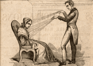 mesmerist using animal magnetism on a woman
