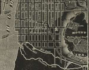 1838 Troy Map cropped to show Liberty Square - Five Points neighborhood