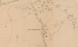 Detail of John Bleeker made a map of the van Rensselaer's patroonship, Rensselaerswijck, 1767, showing unidentified farms above the Helderberg escarpment