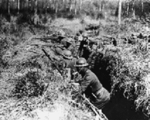 Harlem Hellfighters fighting with the French in the trenches