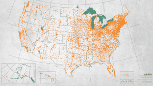 Map of monuments in the United States