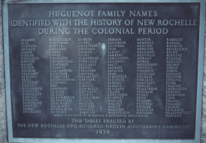 Monument in Hudson Park commemorating the Huguenot founders of New Rochelle