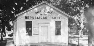 Schoolhouse claimed to be the birthplace of the Republican Party in Rippon, Wisconsin Scene of the meeting, March 20, 1854