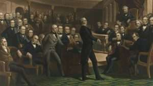 Senator Henry Clay delivering a speech about the Compromise of 1850 in the Senate