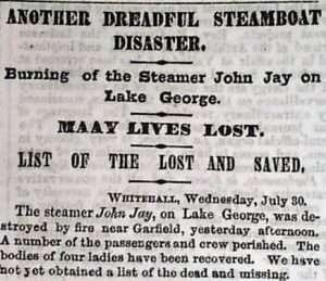 Sinking of Lake George Steamboat John Jay