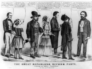 The Great Republican Reform Party Calling on their Candidate 1856 cartoon John C Frémont being lobbied by advocates of temperance, feminism, Fourierism, free love, Catholicism and abolition