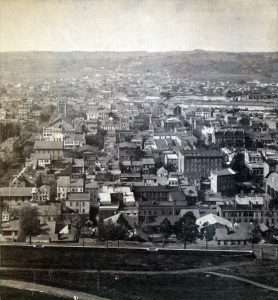 Troy, NY ca 1860 showing the neighborhood around the Five Points-Liberty Square